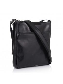 Чёрная кожаная сумка мессенджер мужская VIRGINIA CONTI (ИТАЛИЯ) - VCM01278 Black