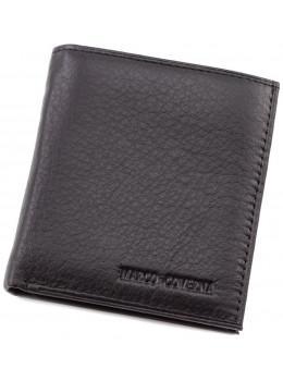 Чёрный маленький мужской портмоне из натуральной кожи Marco Coverna 018 black