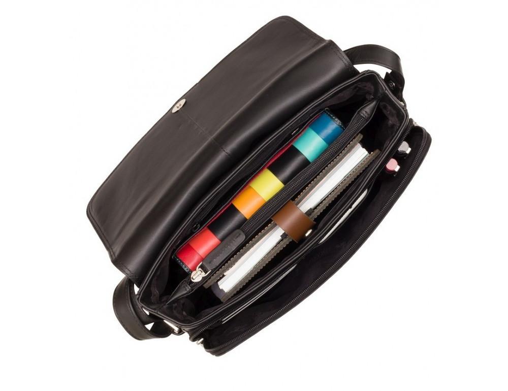 Чёрная женская кожаная сумка Visconti 3190 BLK Claudia - Фото № 6