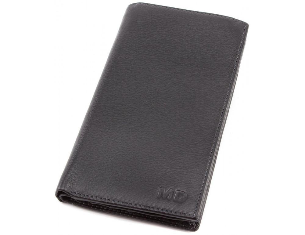 Горизонтальный мужской портмоне MD Leather Collection MC 0887 Black - Фото № 6