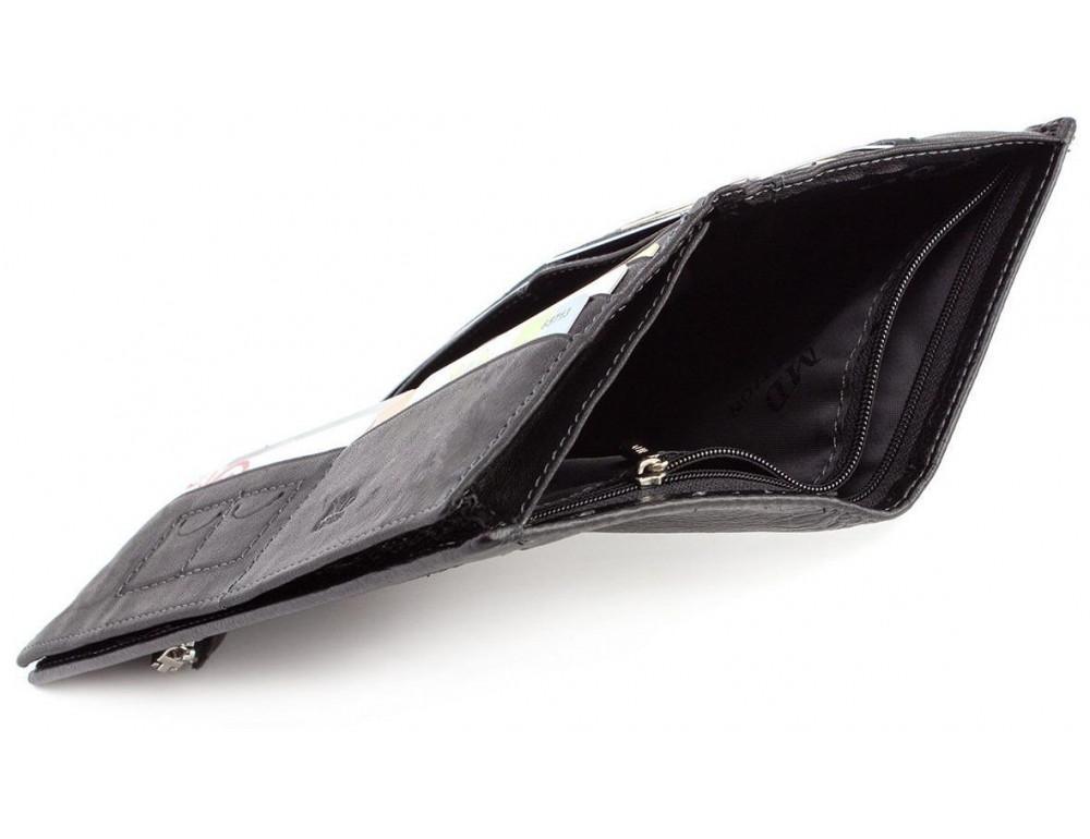 Горизонтальный мужской портмоне MD Leather Collection MC 0887 Black - Фото № 7