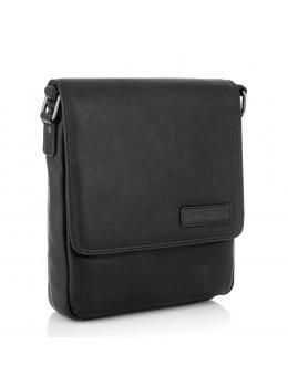 Чёрная кожаная сумка через плечо мужская HILL BURRY - 10096HB Black