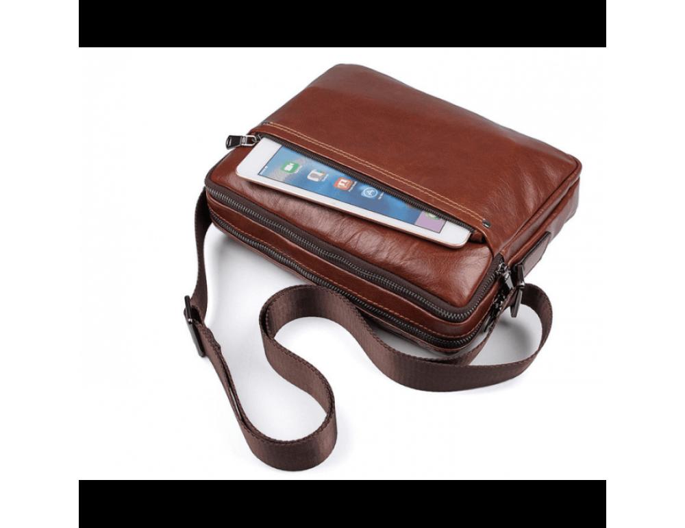 Мужская кожаная почтальонка Tiding Bag 1042C - Фото № 10