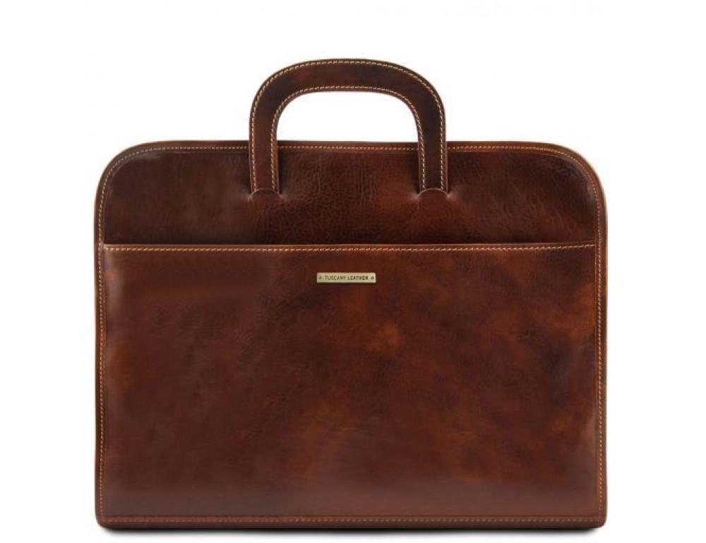 Коричневая кожаная сумка под ноутбук Tuscany Leather Sorrento TL141022 Brown - Фото № 1