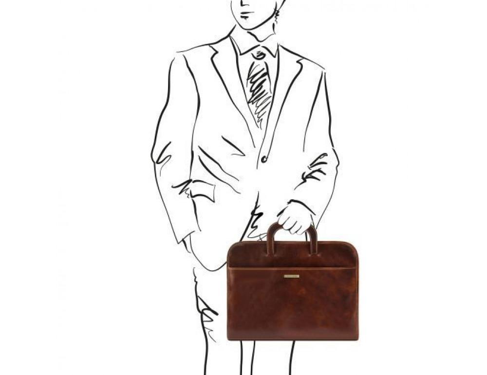 Коричневая кожаная сумка под ноутбук Tuscany Leather Sorrento TL141022 Brown - Фото № 2