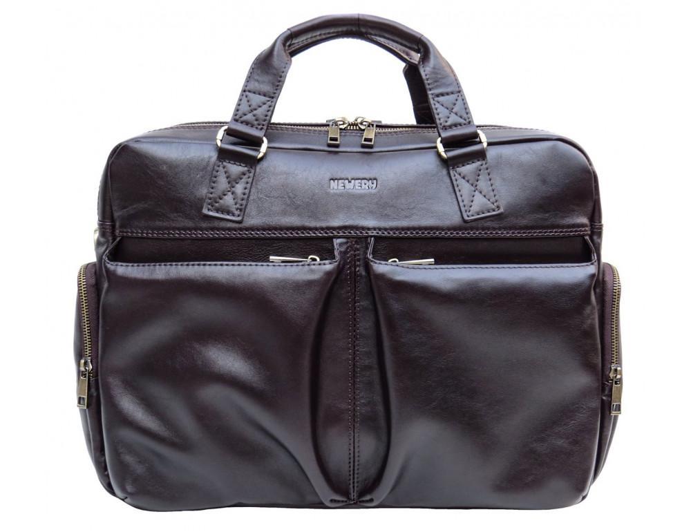 Коричневая мужская кожаная сумка Newery N0021GC - Фото № 1