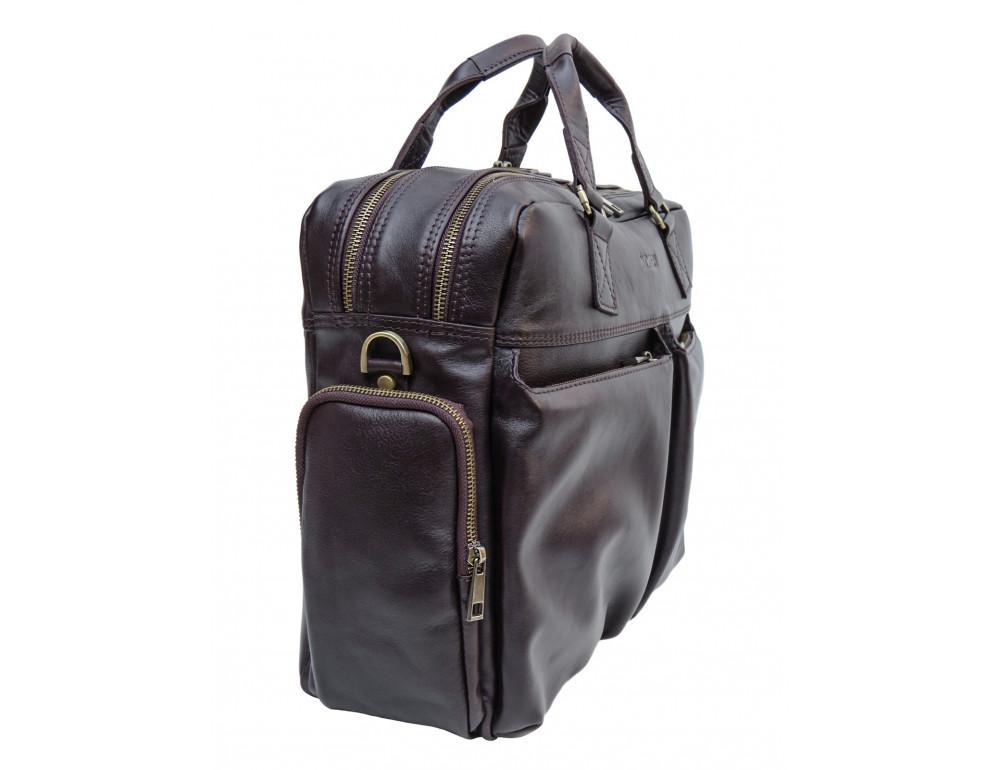 Коричневая мужская кожаная сумка Newery N0021GC - Фото № 4