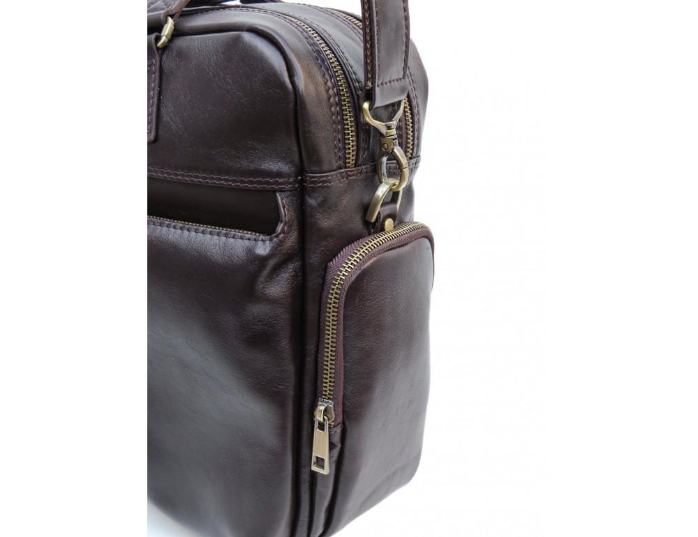 Коричневая мужская кожаная сумка Newery N0021GC - Фото № 6