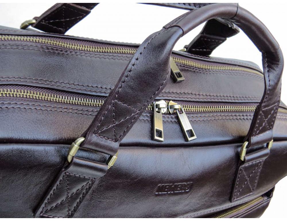 Коричневая мужская кожаная сумка Newery N0021GC - Фото № 7