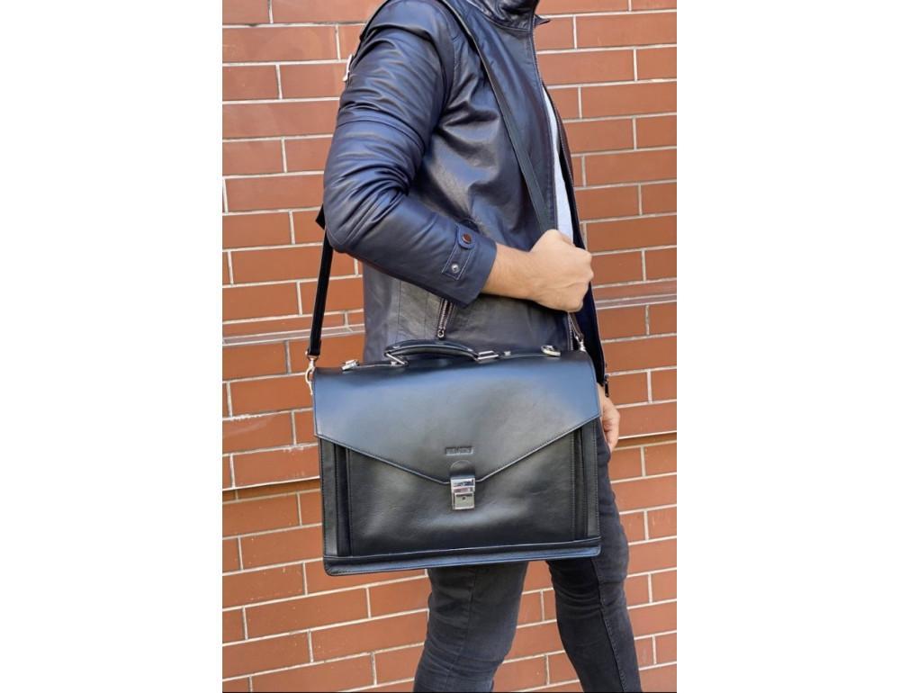 Мужской мягкий портфель из телячьей кожи Newery N4572GA - Фото № 2