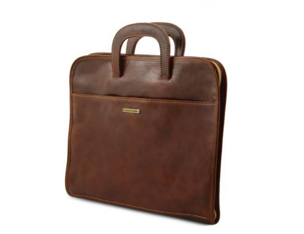 Коричневая кожаная сумка под ноутбук Tuscany Leather Sorrento TL141022 Brown - Фото № 3