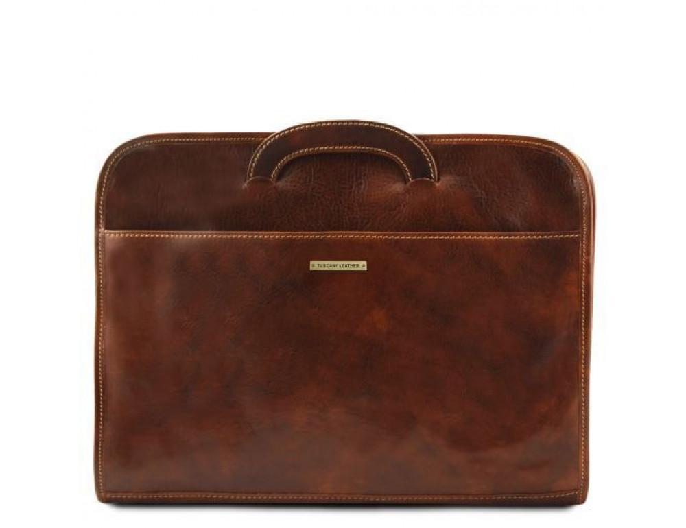 Коричневая кожаная сумка под ноутбук Tuscany Leather Sorrento TL141022 Brown - Фото № 4