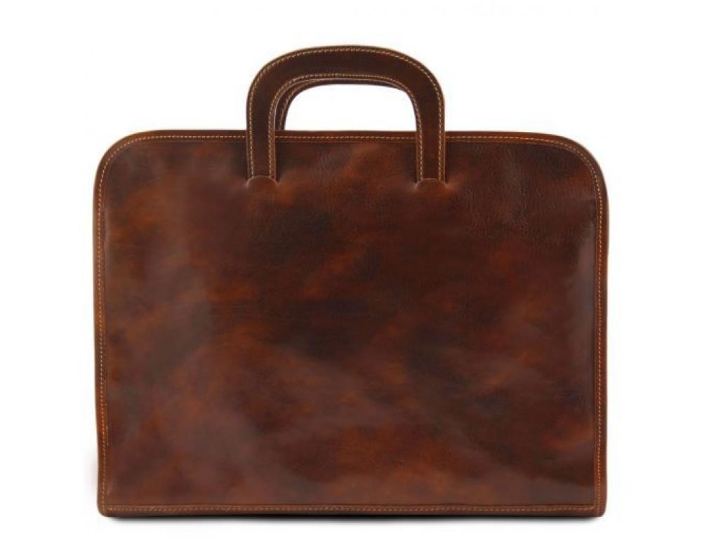 Коричневая кожаная сумка под ноутбук Tuscany Leather Sorrento TL141022 Brown - Фото № 5