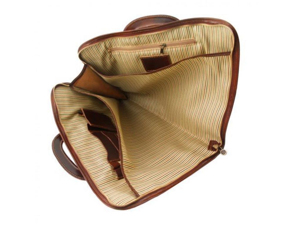 Коричневая кожаная сумка под ноутбук Tuscany Leather Sorrento TL141022 Brown - Фото № 6