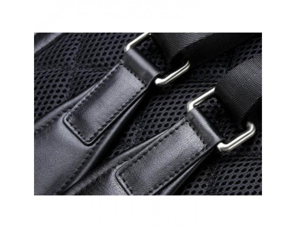 Городской кожаный рюкзак Tiding Bag B3-011A чёрный - Фото № 8