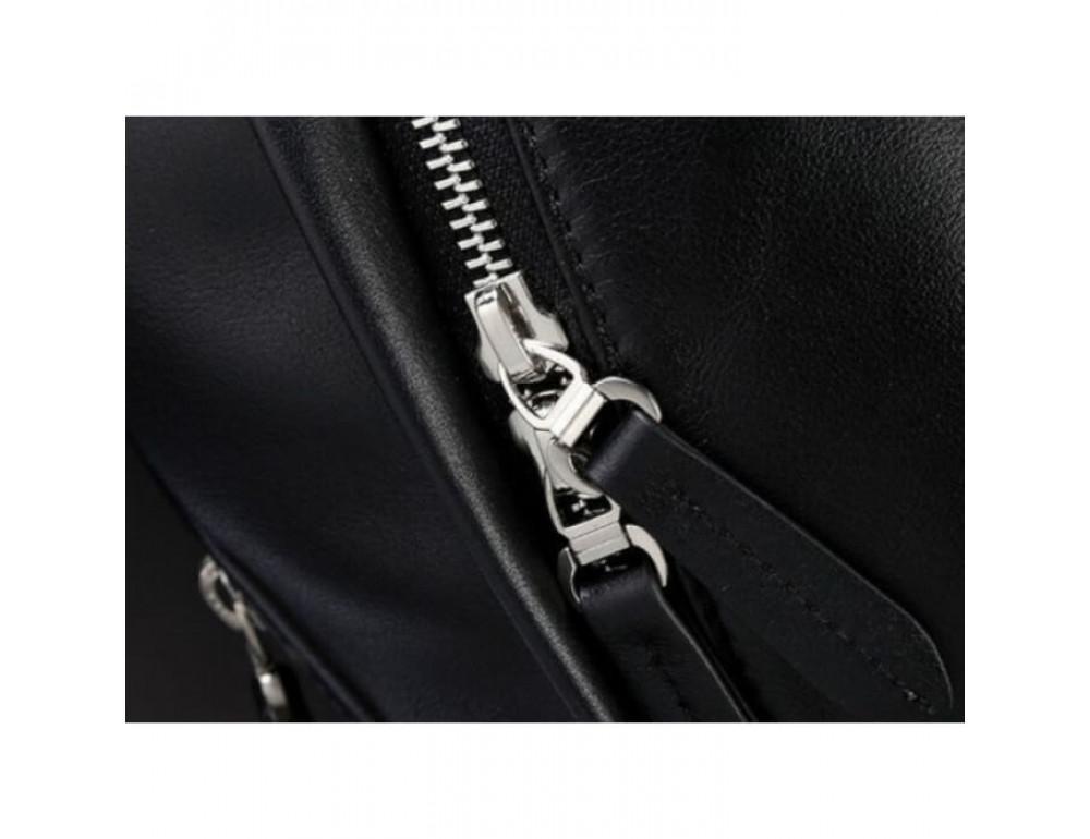 Городской кожаный рюкзак Tiding Bag B3-011A чёрный - Фото № 7