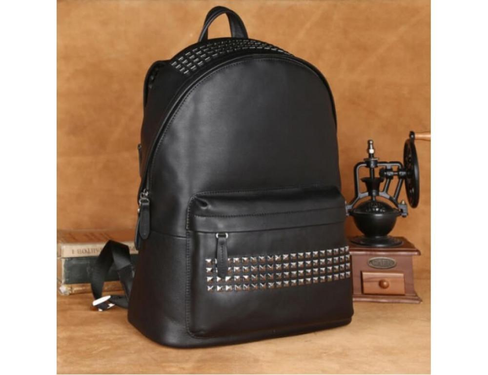 Городской кожаный рюкзак Tiding Bag B3-011A чёрный - Фото № 2