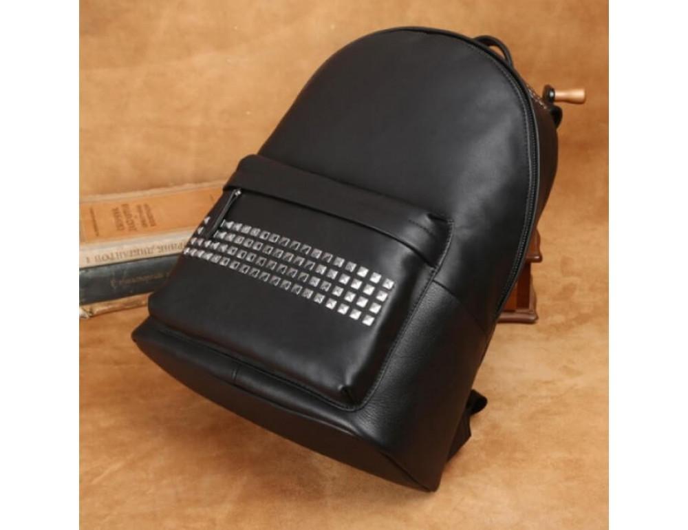 Городской кожаный рюкзак Tiding Bag B3-011A чёрный - Фото № 18