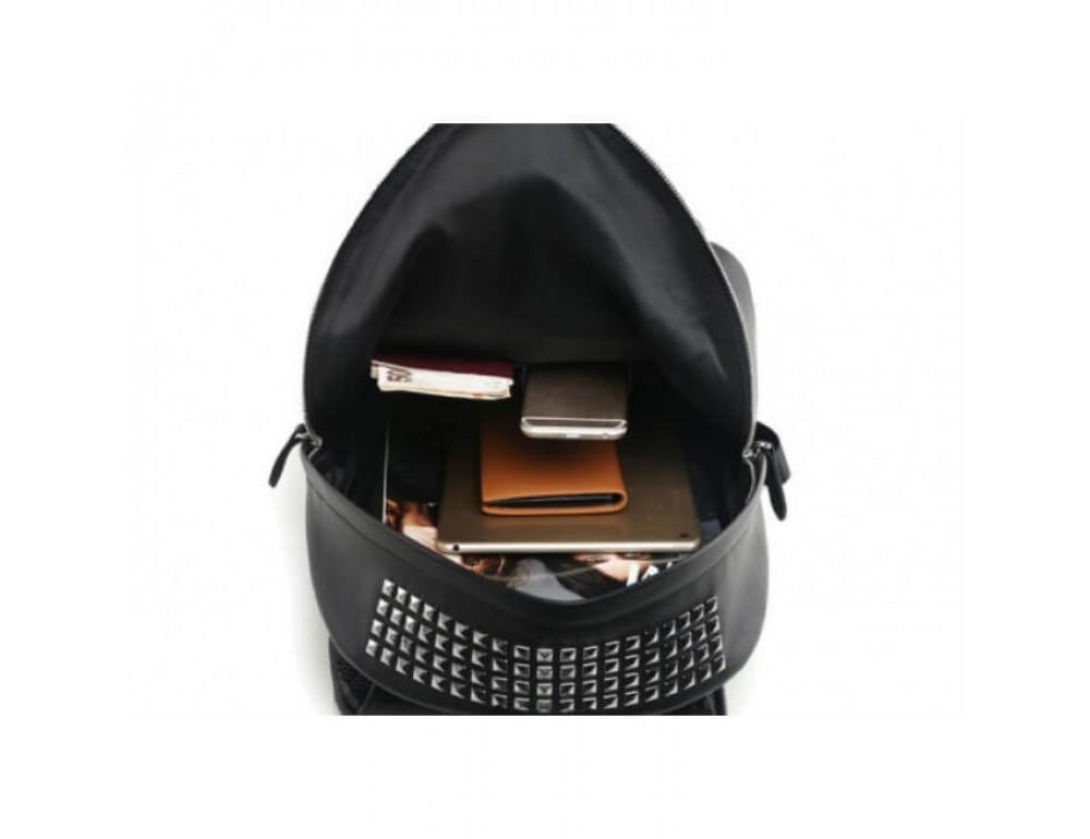 Городской кожаный рюкзак Tiding Bag B3-011A чёрный - Фото № 10