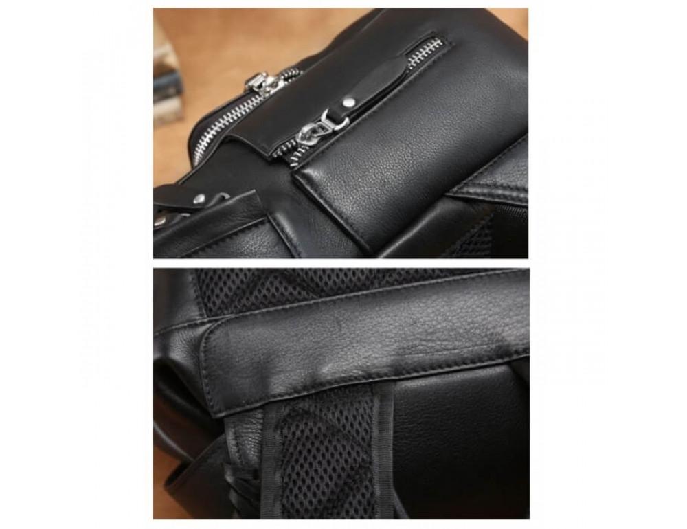 Городской кожаный рюкзак Tiding Bag B3-122A чёрный - Фото № 4