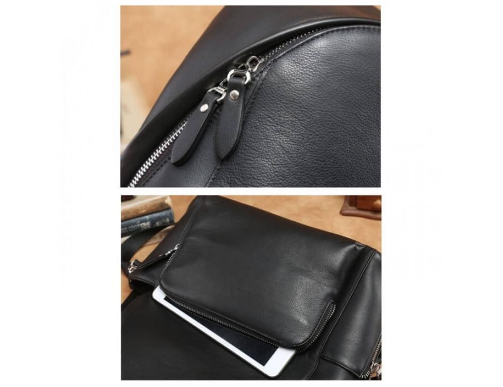 Городской кожаный рюкзак Tiding Bag B3-122A чёрный - Фото № 5