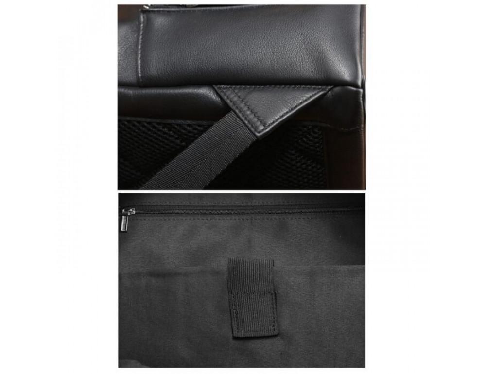 Городской кожаный рюкзак Tiding Bag B3-122A чёрный - Фото № 7