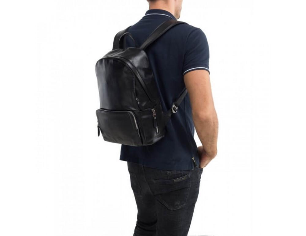 Городской кожаный рюкзак Tiding Bag B3-122A чёрный - Фото № 8