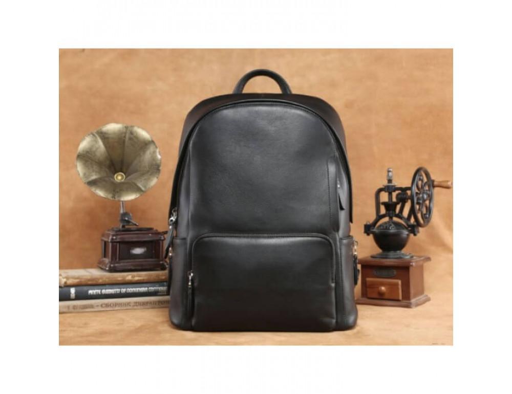 Городской кожаный рюкзак Tiding Bag B3-122A чёрный - Фото № 12