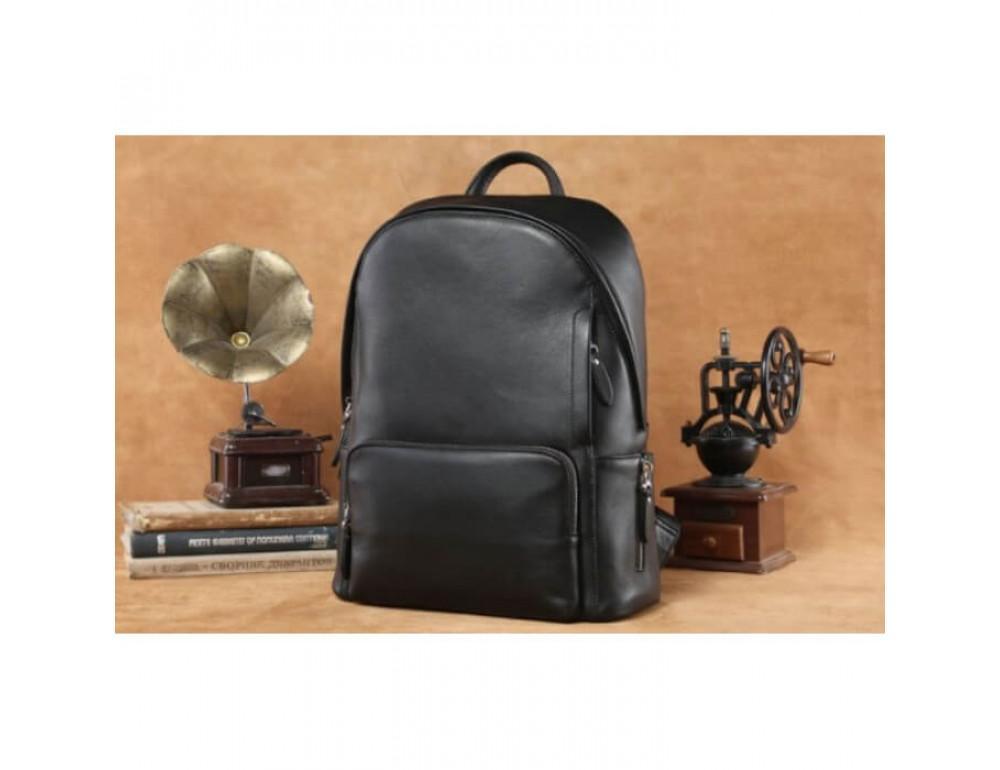 Городской кожаный рюкзак Tiding Bag B3-122A чёрный - Фото № 13