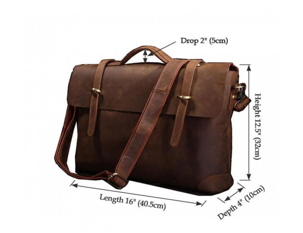Мужской кожаный портфель TIDING BAG 7082R - Фото № 9