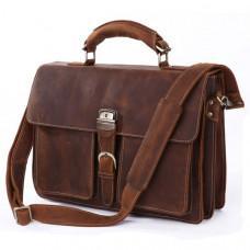 Чоловічий шкіряний портфель TIDING BAG 7164R коричнева