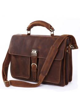 Мужской кожаный портфель TIDING BAG 7164R коричневая