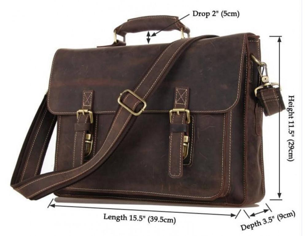Мужской кожаный портфель TIDING BAG 7205R темно-коричневый - Фото № 3