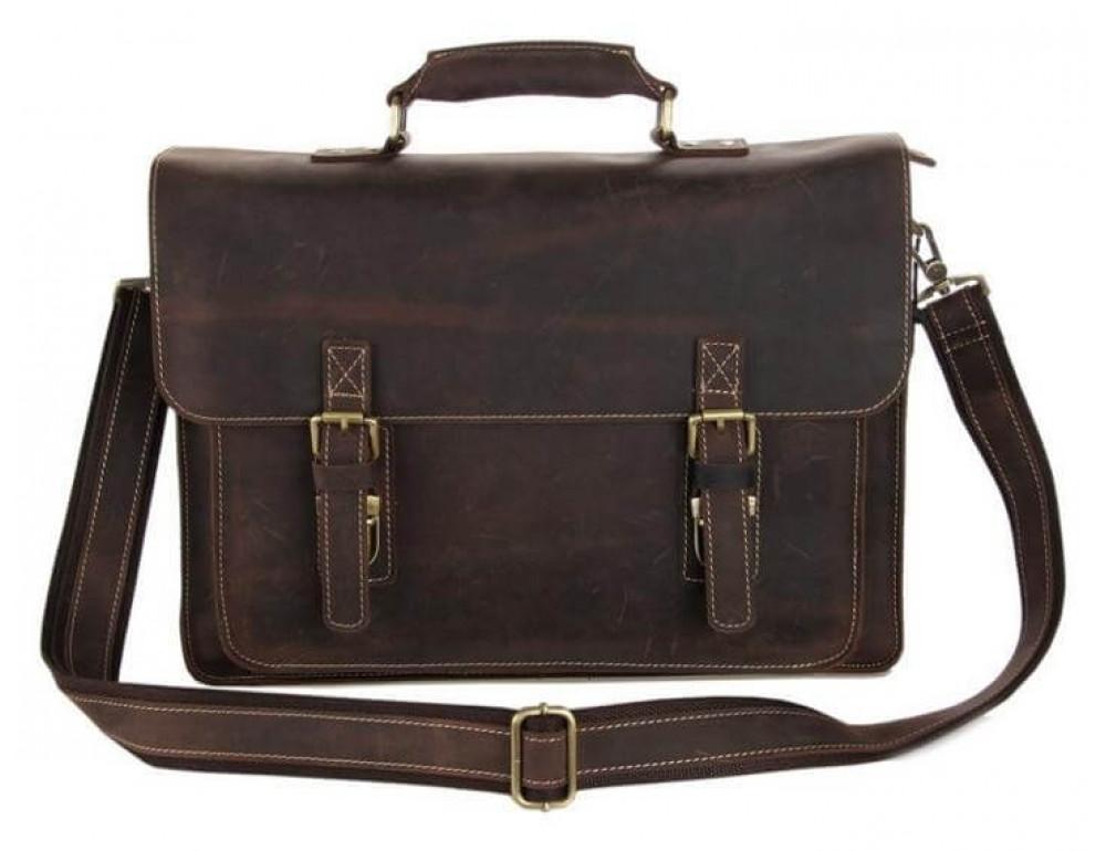 Мужской кожаный портфель TIDING BAG 7205R темно-коричневый - Фото № 4