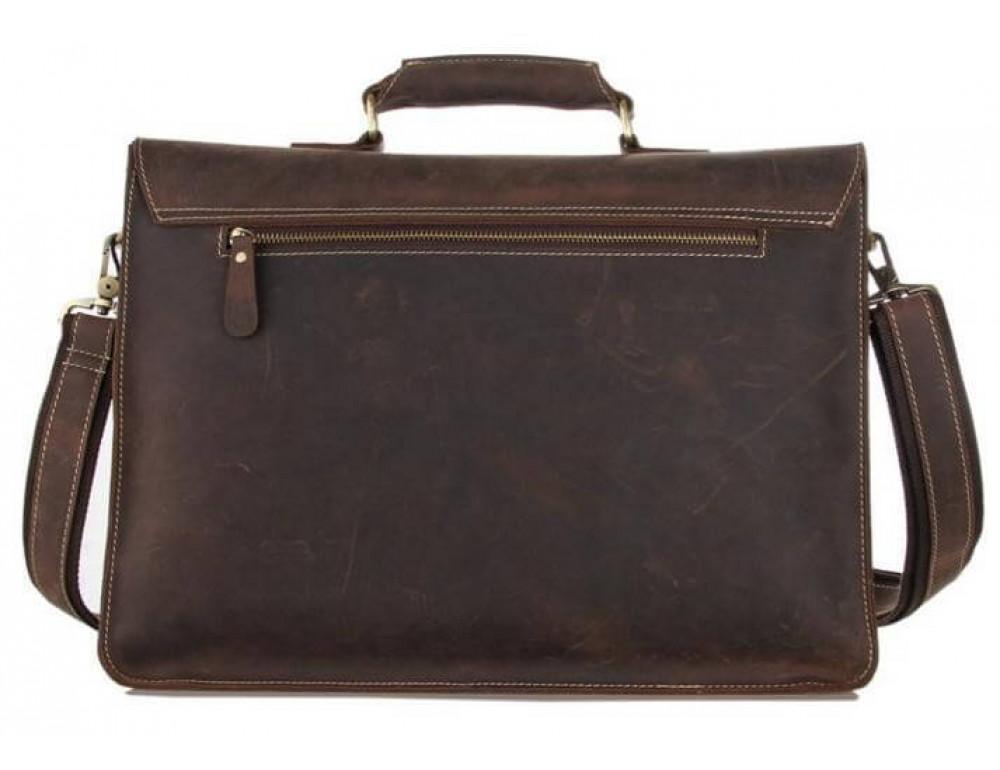 Мужской кожаный портфель TIDING BAG 7205R темно-коричневый - Фото № 5