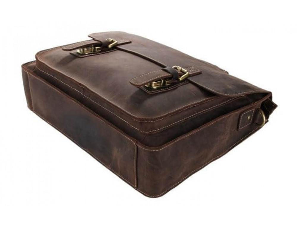 Мужской кожаный портфель TIDING BAG 7205R темно-коричневый - Фото № 6