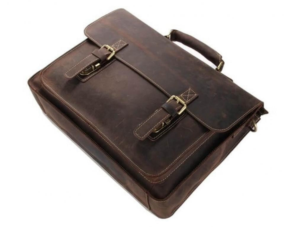 Мужской кожаный портфель TIDING BAG 7205R темно-коричневый - Фото № 7