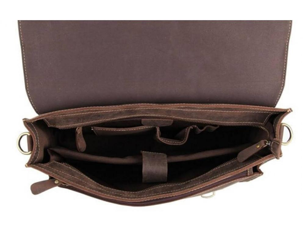 Мужской кожаный портфель TIDING BAG 7205R темно-коричневый - Фото № 2