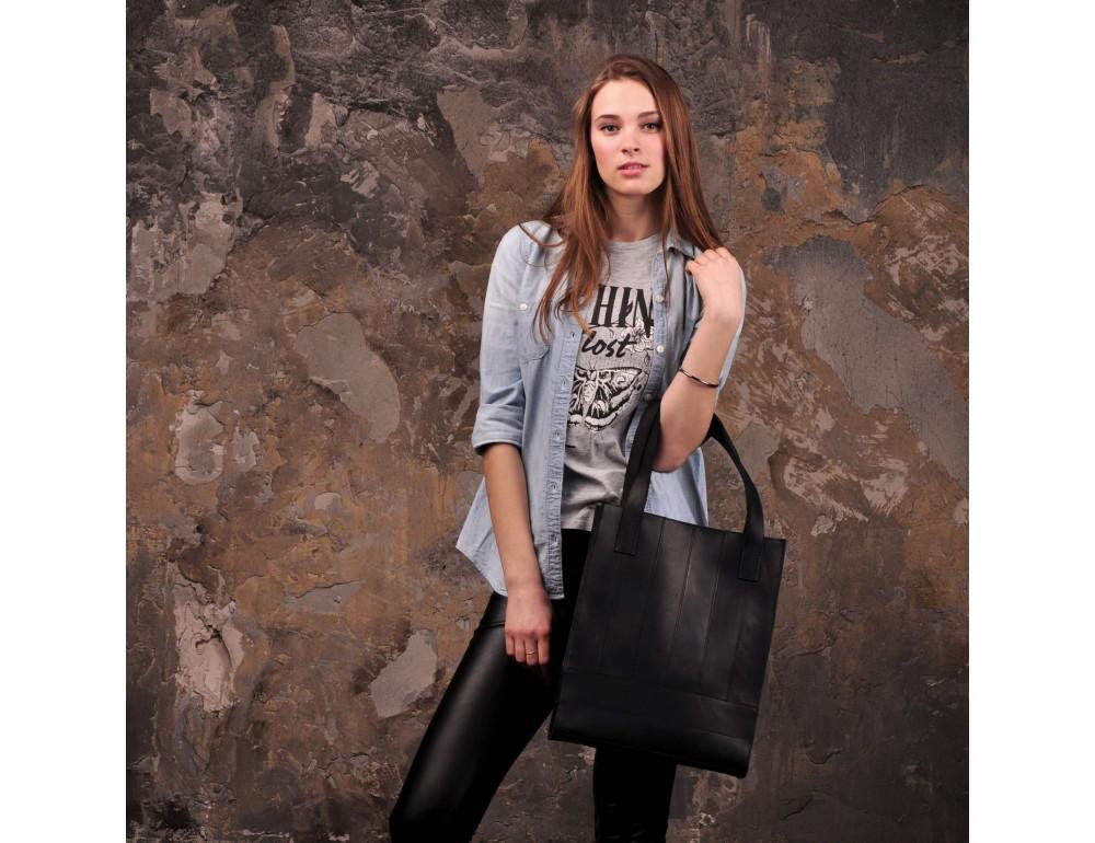Чорна шкіряна сумка шоппер Blanknote BN-BAG-10-G-KR - Фотографія № 2