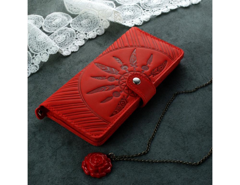 Червоний шкіряний гаманець Blanknote BN-PM-7-coral-ls
