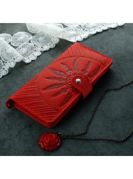 Красный кожаный кошелек Blanknote BN-PM-7-coral-ls