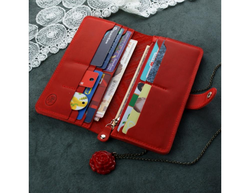 Красный кожаный кошелек Blanknote BN-PM-7-coral-ls - Фото № 2