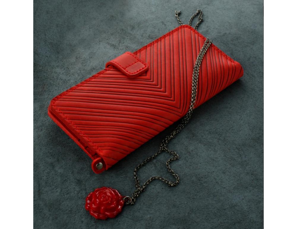 Красный кожаный кошелек Blanknote BN-PM-7-coral-ls - Фото № 4