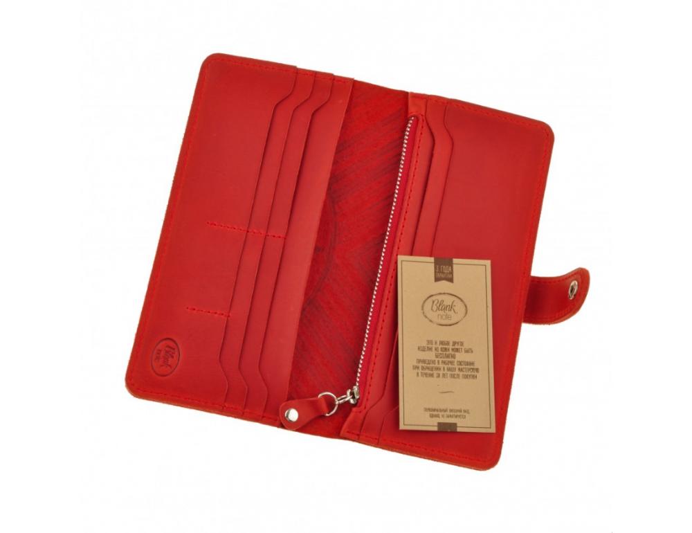 Красный кожаный кошелек Blanknote BN-PM-7-coral-ls - Фото № 5