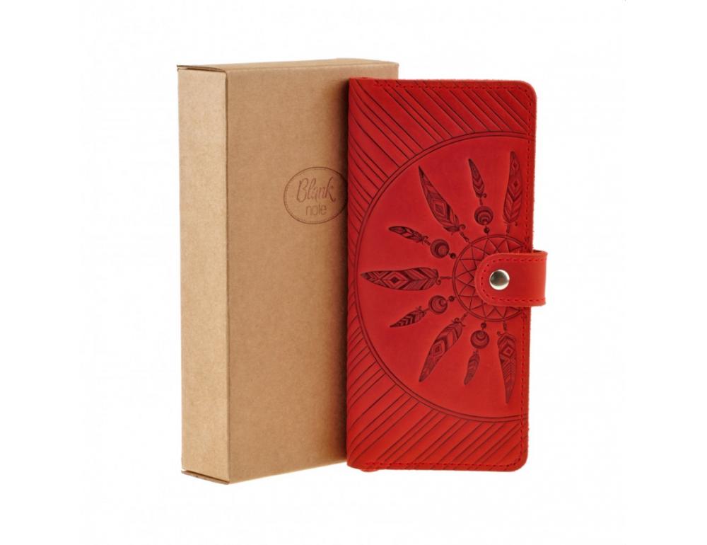 Красный кожаный кошелек Blanknote BN-PM-7-coral-ls - Фото № 6
