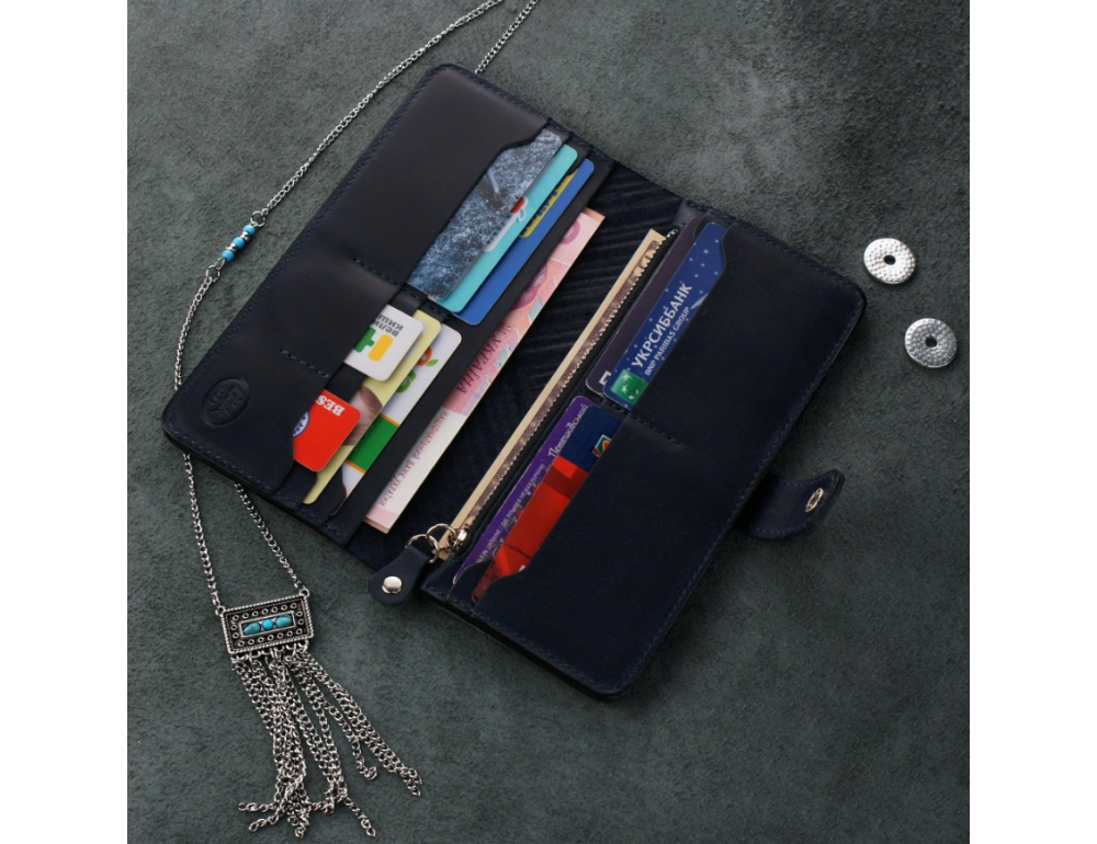 Темно-синій шкіряний гаманець Blanknote BN-PM-7-nn-ls - Фотографія № 2
