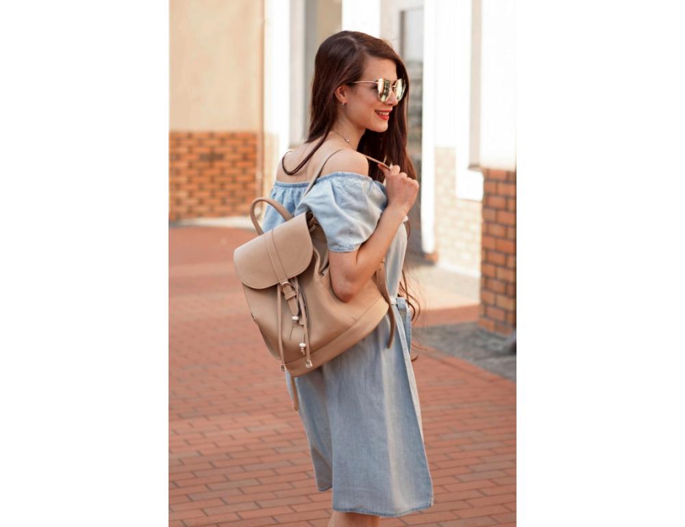 Городской кожаный рюкзак Blancnote BN-BAG-13-crem-brule - Фото № 7
