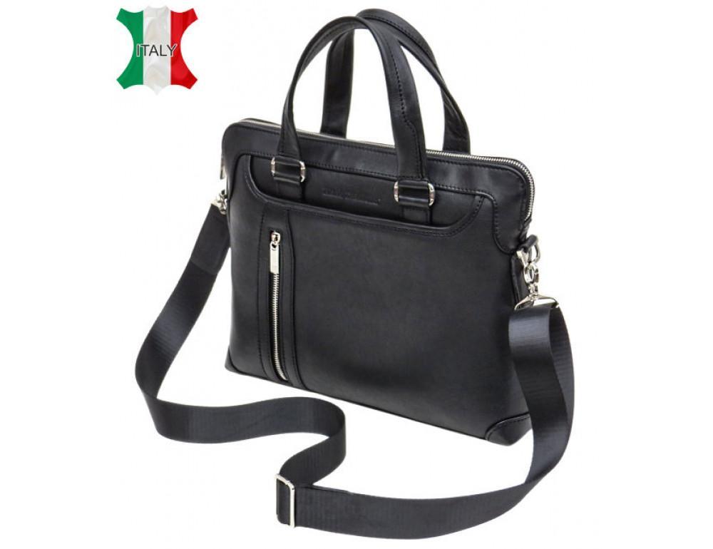 Чоловіча шкіряна сумка під macbook Black Diamond BD37A чорна