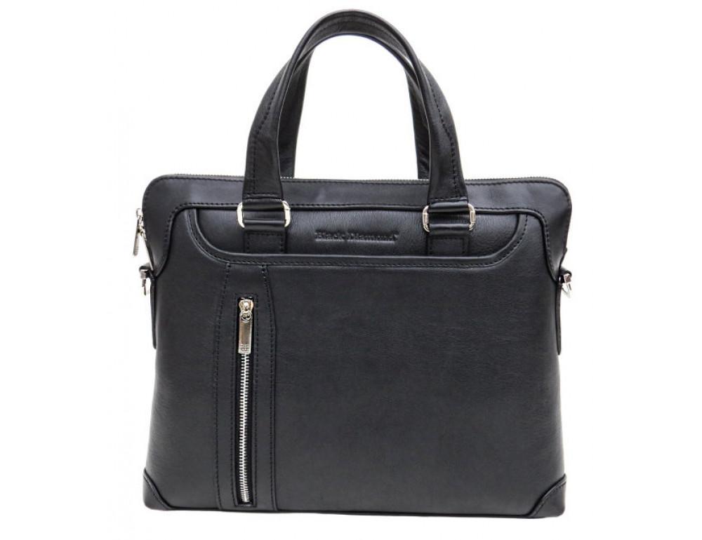 Мужская кожаная сумка под macbook Black Diamond BD37A чёрная - Фото № 2