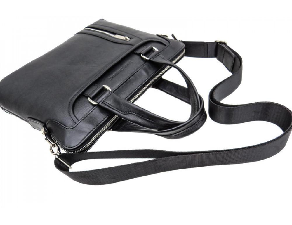 Мужская кожаная сумка под macbook Black Diamond BD37A чёрная - Фото № 6